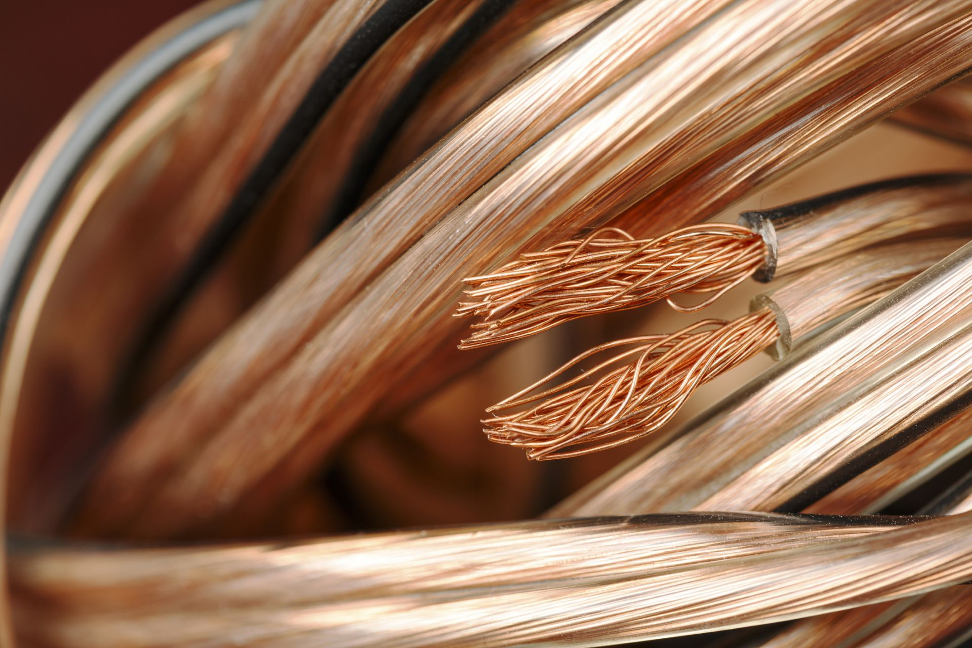 copper wired coiled closeup