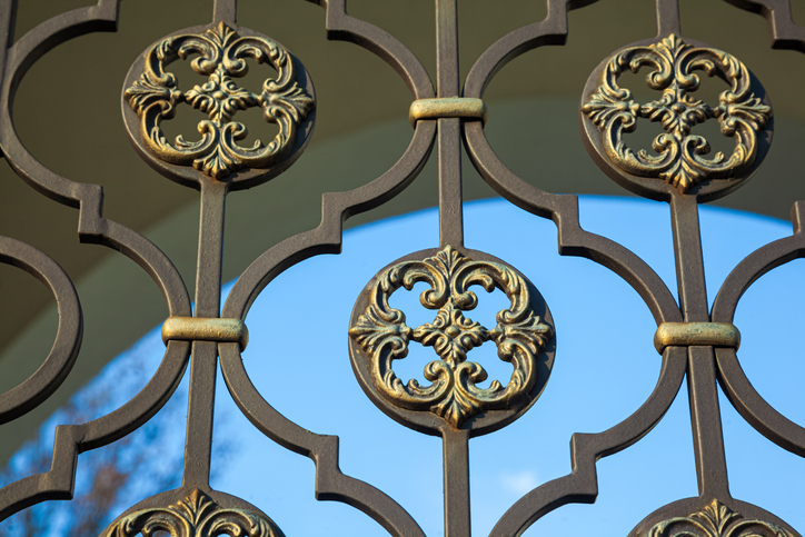 detailed bronze metal fencing