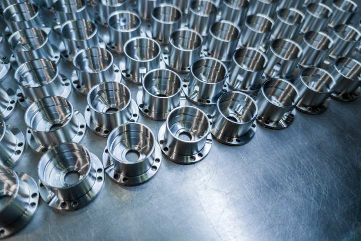 metal matrix parts lined up on manufacturing floor